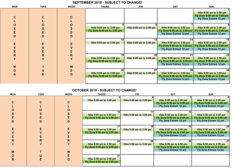 Sep-Oct 2019 schedule